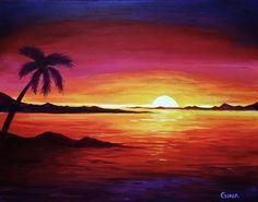 sample canvas art - sunset on a beach